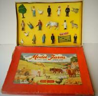 CRESCENT RARE VINTAGE 1951 U.S IMPORT BOXED 20 pc SET OF LEAD FARM & RAILWAY VNM