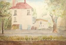 Vintage Landscape Cityscape House Watercolor Painting