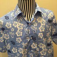 Tampa Bay Rays MLB Blue Hawaiian Floral Baseball Shirt Medium 100% Polyester EUC