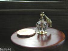 Miniature Dollhouse Crystal Perfume Bottle w/ Gold Atomizer