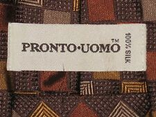 PRONTO UOMO Brown & Gold Diamond Checkered Geometric Tie 100% Silk Great Tie!