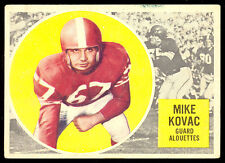 1960 TOPPS CFL FOOTBALL 43 MIKE KOVAC EX COND MONTREAL ALOUETTES