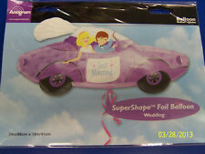 "Just Married Car Purple Wedding Party Decoration Foil 34"" Shaped Mylar Balloon"