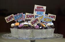 Personalised Superhero Picks Spiderman Comic Party Cupcake Food Flags Zap POW