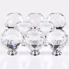 8 x 50mm Diamond Drawer Cabinet Furniture Clear Crystal Glass Door Knobs Handles