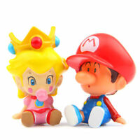 2pcs Super Mario Bros Peach Mini Action Figure Doll Figurine Playset Kids Gift