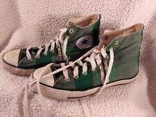 GREEN STRIPED CONVERSE TENNIS SHOES HIGH TOPS SIZE MEN'S 7 WOMEN 9 FLAWS