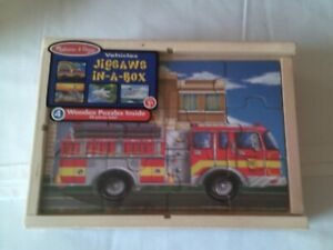 Melissa & Doug Wood Puzzles Set Vehicles Jigsaws In A Box 4 Wooden Age 3+