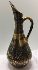 "Vintage Stangl Black Gold Pottery/Vase Hand Painted 22 Karat Gold 12"" Tall. 4055"