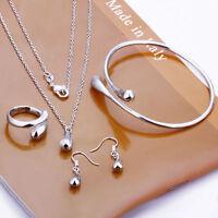 Women Wedding Silver Drop Necklace Bracelet Earring Ring Fashion Jewelry Set 925