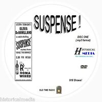 SUSPENSE! - 919 Shows Old Time Radio In MP3 Format OTR On 2 DVDs