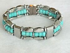 Western Silver Magnetic Hematite Chalk Turquoise Bracelet Necklace Anklet USA