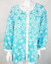 NEW Bob Mackie Wearable Art Blouse 3X Linen Rayon Aqua White Flowers Sequins