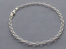 "Bracelet- Rolo Dia Cut Faceted Design 9 1/4""-Sterling Silver Italy 925 Ankle"