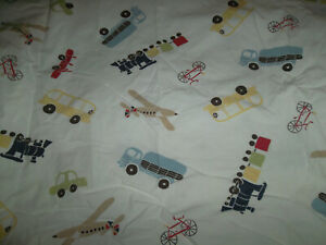 Pottery Barn Kids Backseat Driver Crib Fitted Sheet Toddler Bed Cars Trains Bike