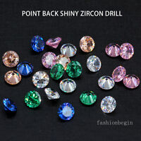 6/8/10mm color Natural zircon diamond Round cut Gems Nail Art jewelry decoration