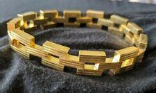 Square Chain Link Gold Tone Bracelet Geometric Textured Flat Vintage 1970's NOS