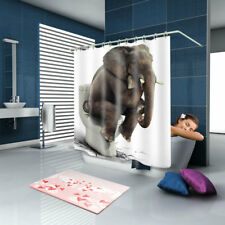 Shower Curtain Art Bath Decor Elephant Sitting on the Toilet Design + 12 hooks