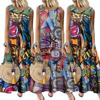 ZANZEA Women Sleeveless Long Maxi Sundress Flare Swign Full Length Printed Dress