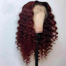 Luxury Lace Front Remy Burgundy Red #99J Deep Wave Full Lace Human Hair Wig Wavy