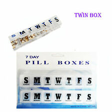7 Day TWIN Pill Box with Clip Lids Medicine Organiser Tablet Storage Dispenser