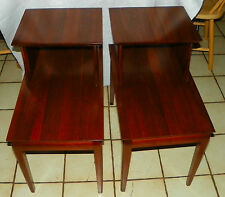 Pair Solid Walnut Mid Century Step End Tables / Side Tables  (RP-T8)