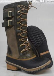 Sorel Conquest Carly II Tall Winter Snow Boots 5.5 Waterproof Leather Peatmoss