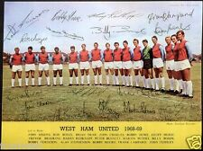 WEST HAM UNITED 1968-1969 Signed Photograph - Bobby Moore Geoff Hurst preprint