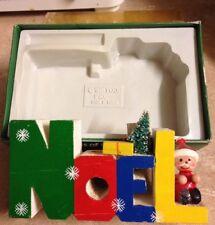 Vintage Giftco Noel Wooden Candle Holder Words of Christmas Santa Brush Tree