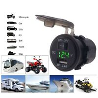 Waterproof Mobile USB Digital Display 12V USB Car Charger with switch SMART