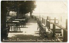 RPPC NY South Bay Crownharts Hotel Boardwalk 1913 Onondaga County