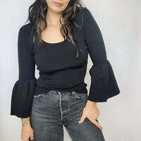 Elizabeth and James Ribbed Black Willow Bell Sleeve Top Size XS