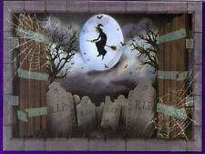 6-Ft. Creepy Witch Flying Over Cemetery Silhouette Halloween Wall Table Cover