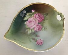 Weimar Leaf Shaped Bowl Dish Handpainted China Roses Artist Signed Germany