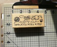 "PSX personal Stamp Exchange sello de goma montado madera ""aquí sello Kitty frontera"""