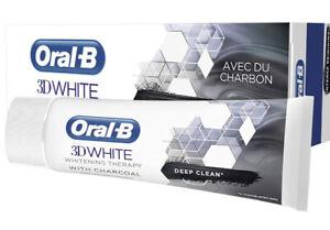 Lot de 3 dentifrices Oral B 3D white nettoyage intense au charbon 75ml