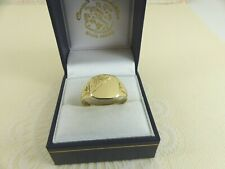 Gents 9ct 9carat Gold Patterned Square Signet Ring  size W