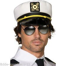 Para Hombre Adultos Blanco Fancy Dress yate barco Capitán Hat Navy PAC Marinero Marinero Divertido