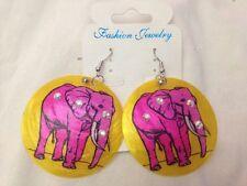 Orecchini tondi gialli con brillantini e Elefante Rosa Stampato - Fashion  Nuovi