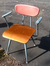 Vintage Mid Century - Plastic / Wood / Metal Chair W/ Arms - Great Color - Nice