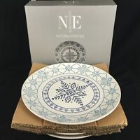Set of 4 Dinner Plates by Noble Excellence Astoria Fair Isle Pattern Stoneware