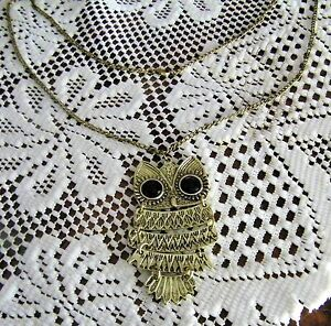 ADORABLE VINTAGE STYLE BRONZE OWL PENDANT ON 25-INCH CHAIN