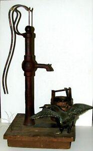 Large Detailed Curtis Jere 1972 Table Top Sculpture Farm Scene Pump Goose