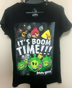 Angry Birds Black Cotton T Shirt - Large - Free Post