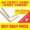 50 A4 Ivory Cream Craft Card 160gsm Smooth Hobby Printer Arts Plain