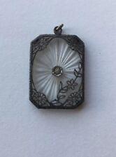 OB Ostby Barton Sterling Silver Filagree Camphor Glass Pendant Art Deco Flowers