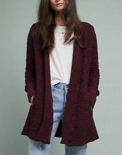 ANTHROPOLOGIE T.La BORDO TEXTURED OPEN FRONT ALMANDINE CARDIGAN JACKET Sz M