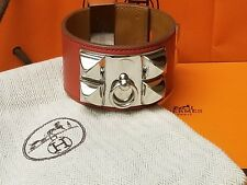 HERMES COLLIER DE CHIEN CDC RED SWIFT LEATHER S SILVER PALLADIUM HARDWARE VERY G