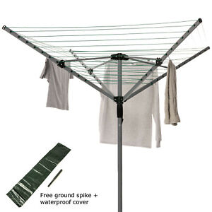 Rotating Washing Line Outdoors Garden Clothes Dryer 4 Arms Spike Cover 40m line