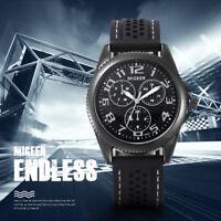 Men Stainless Steel Sports Wrist Watch Silicone Strap Analog Quartz Boys Watches